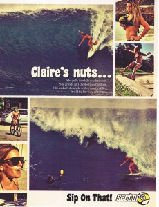 Claire-rips on Sector9 skateboards and charges Backdoor Pipe on her JC surfboard