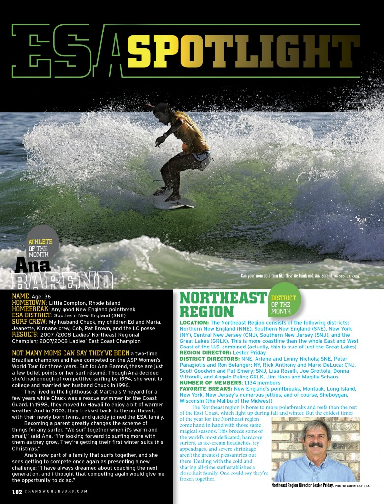 ANA in TransWorld SURF magazine - ESA spotlight article
