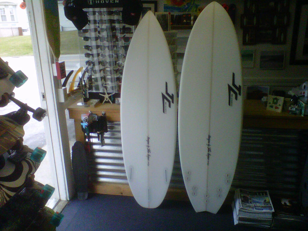 bottom view of 5'8 JC Enabler and the 5'10 JC TRX