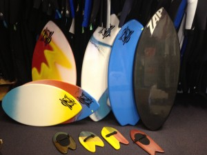 Zap skimboards at Living Water - Mini Lazers, Wedges, Fish, Carbon Fiber Pro models...