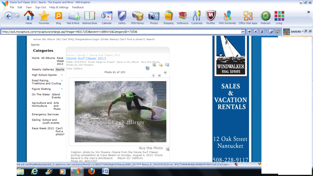 Chuck - 2nd Open Men's 2013 - Nantcket Ozone Surf Classic