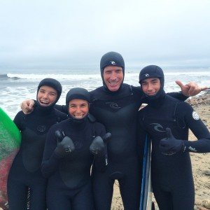 The Barend family enjoy some Winter surf time together!