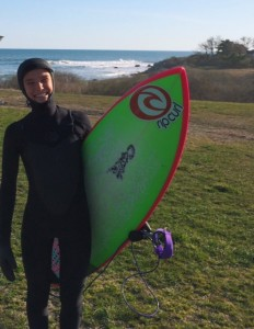 Maria, enjoying Spring yesterday! Maria stayed warm & stoked in her Rip Curl Ladies Hooded wetsuit