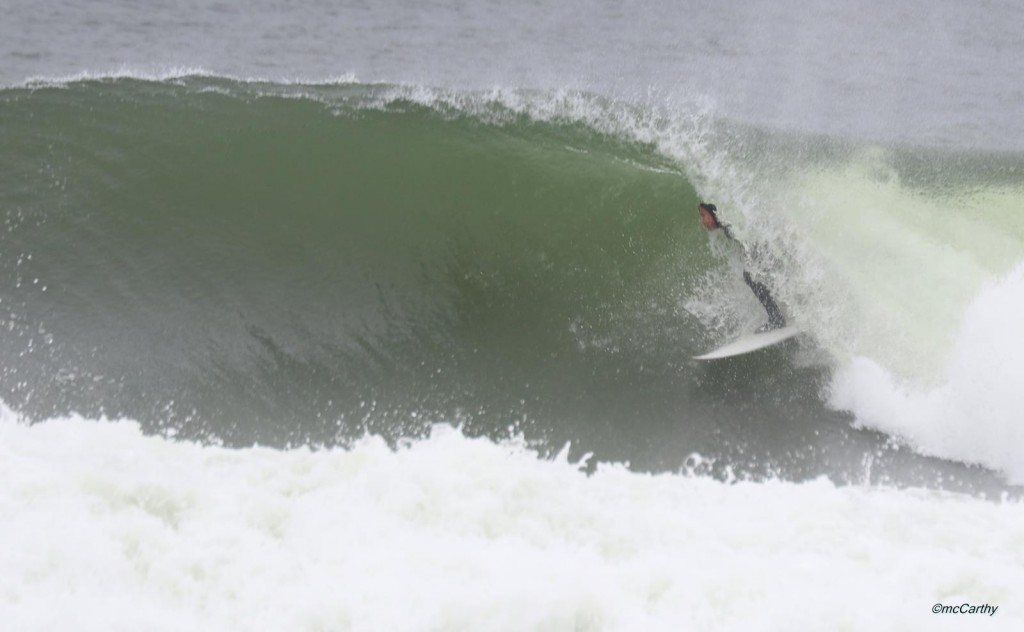 Chuck getting fully stoked on this Winter barrel in Jersey last Winter,  Enjoy your search!